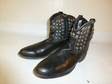 FRYE Studded Motorcycle Ankle Boots Women's Black Leather Short - US 9.5
