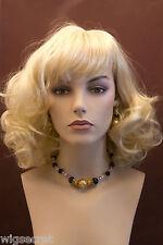 Medium Length Blonde Grey Brunette Red Wavy Skin Top Wig With Bangs