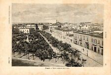 Stampa antica FOGGIA veduta panoramica 1891 Old print