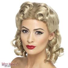 FANCY DRESS WIG # LADIES 1940s PIN UP SWEETHEART BLONDE WIG