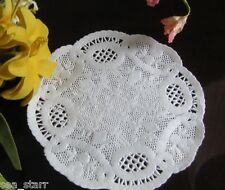 "VTG 4"" INCH OFF WHITE ROUND PRINCESS PAPER LACE  DOILIES CRAFT 20 PCS USA stamp"