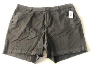 "Style & Co Plus Size 18W Gray Chino Released Hem Shorts 7"" Inseam Fringe #L287"