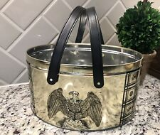 Vintage Embossed Eagle Oval Metal Tin Container