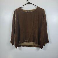 Eileen Fisher Women's Oversize Velvet Boatneck Sheer Velvet Top -Brown Sz PP