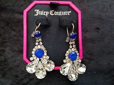 Juicy Couture New Gold, Blue & Crystal Gemstone Drop Earrings (Pierced) In Box