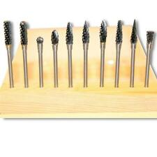"""Kent 10 Assorted Carbide Rotary Burrs With 3/32"""" Shank and 1/4"""" Double Cut Heads"""