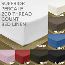 LUXURY SUPERIOR PERCALE 200 THREAD COUNT COTTON BLEND FITTED BED SHEET