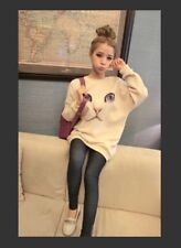Korean Women's Kitty Fleece Hoodie-White-Oversized