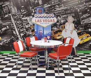Bistrogruppe Paul King 2 American Diner Vegas 50er Jahre Retro 5 teilig Rot Weiß