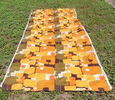 MID-CENTURY RETRO GEOMETRIC FILKAUF Screen Printed Linen Curtains Fabric MCM