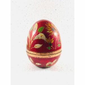 Brass Egg Decorative Vintage  Enameled Easter Home Decor Hand Painted Solid Gift
