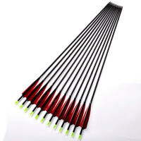 "33.5 inch (85cm) Archery 5"" Real Turkey Feather Carbon Arrows 12pcs Spine 500"