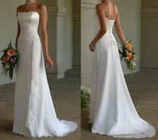Cheap White/Ivory Beach Country Wedding Dress Bridal Gown Lace up Back In Stock