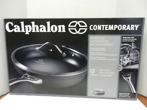 "CALPHALON CONTEMPORARY NONSTICK 13"" DEEP SKILLET WITH LID ~ NIB"