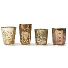 4 Teelichthalter im Set Glas geschliffen Vintage antik gold, bronze, rosé ***