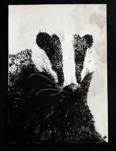 That's the Badger - A5 Original Ink Artwork Drawing Painting - OOAK