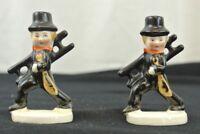 """Two Vintage 2"""" Chimney Sweep Figurines Ceramic Men"""
