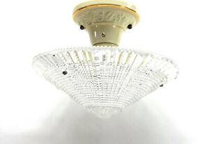 Antique Ceiling Light Fixture hanging Art Deco Glass Shade Porcelier Porcelain