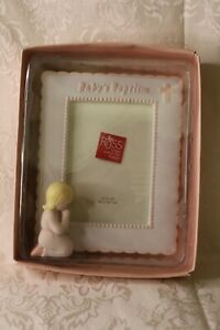 """BABY'S BAPTISM PICTURE FRAME by RUSS for girl 3-1/2"""" ×5"""" with box pink trim FrSH"""