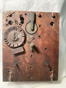 Wooden works clock movement ,  circa 1830 As-Is 42 Teeth