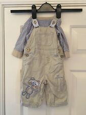 Next Boys Blue And Beige Bodysuit And Dungaree Set Size 3-6 Months