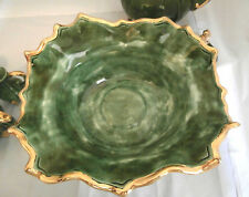 VTG-1971- Loma-Footed Ceramic Fruit Bowl-Victorian-Green/Gold-Signed