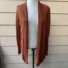 Eileen Fisher Open Drape Brownish Orange Linen Cardigan Sweater Women Casual PM