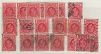 GB KGV 1934 1d Red Collection Of 20 Watermark Inverted Fine Used J417