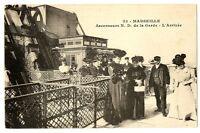 CPA 13 Bouches-du-Rhône Marseille Ascenseurs N.D de la Garde L'Arrivée animé