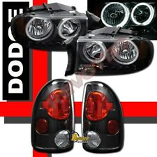 1997-2004 Dodge Dakota CCFL Halo Angel Eyes LED Headlights & Tail Lights Black