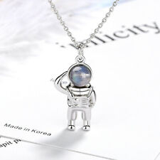 925 Sterling Silver Moonstone Astronaut Pendant Necklace Creative Jewellery