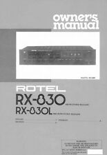 Rotel RX-830L Receiver Owners Instruction Manual