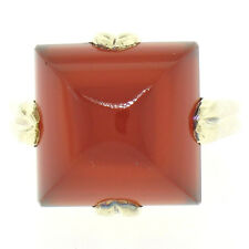 Estate 14k Yellow Gold 7.32ct Sugarloaf Pyramid Prong Carnelian Solitaire Ring