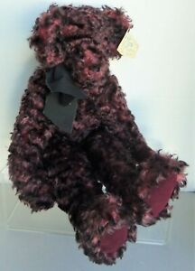 "DIANA WEST OOAK Curly Mohair Bear RASPBERRY FRITTER, 20"", 1998, Signed"