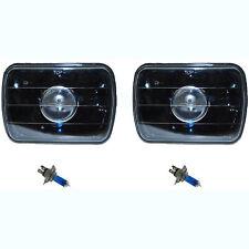 7X6 Black Projector Halogen Crystal Clear Glass Headlamp H4 Light Bulbs Pair