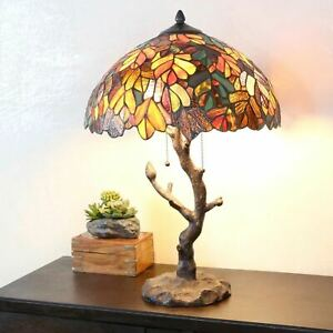 """Tiffany Style Table Lamp Tree Reading Desk Accent Stained Glass Lamp 25"""" High"""