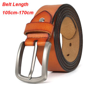 """Extra Long Casual Mens Belt for Jeans 100% Genuine Leather Belt Size 28""""-65"""""""