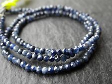 "2.3mm MICRO FACETED BLUE SAPPHIRE ROUNDS, 13"" strand, 180 beads"