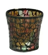 Faux Mosaic Glass Votive Candle Holder