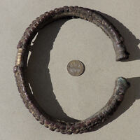 an unusual old 5 inch decorated copper alloy african bracelet from nigeria #87