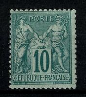 "FRANCE STAMP TIMBRE YVERT N° 76 "" SAGE 10c VERT TYPE II "" NEUF x TTB SIGNE V887"