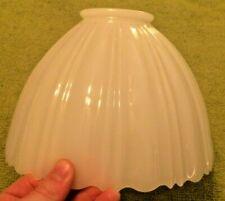 "Antique Milk Glass Art Deco Ribbed Lamp Shade Decor Rare 9"" Wide Ornate"