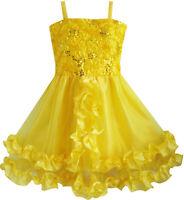 Mädchen Kleid Gelb Shinning Pailletten Hochzeit Party Festzug Kids Gr. 98-134