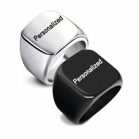 Personalized DIY Custom Name Engraved Stainless Steel Glossy Women Men Ring Gift