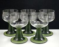 VINTAGE GERMANY SET OF 5 WINE GOBLETS ETCHED CLEAR GREEN