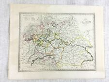 1846 Antique Map of Germany in 1789 Historical Rare Hand Coloured Engraving