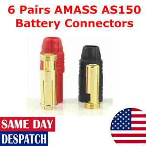 6 Pairs AMASS AS150 7mm Lipo Battery Connectors RC Car Drone DJI 150A Red/Black