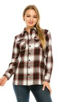 YAGO Women's Plaid Flannel Button Down Casual Shirt White/Red 7L (S-2XL)