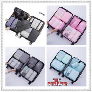 8 Pieces Organiser Set Luggage Suitcase Storage Bags Packing Travel Cubes UK