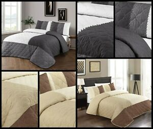 SUEDE Bedspread With 2 Pillow Cases  Bedding Duvet Throw Quilted 240 cm x 260 cm